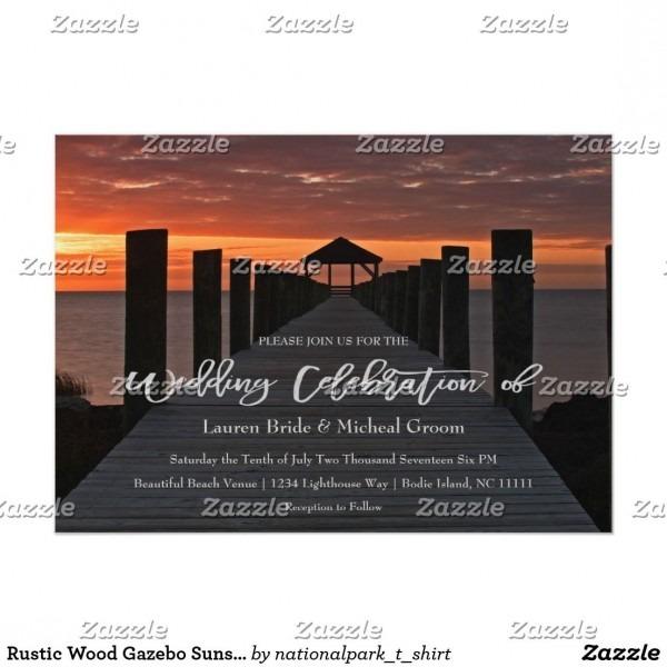 Rustic Wood Gazebo Sunset Wedding Invitation
