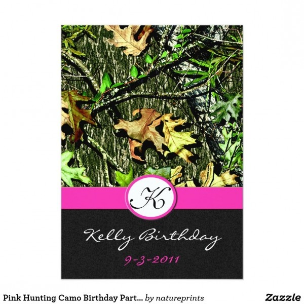 Pink Hunting Camo Birthday Party Invitations Product Details Pink