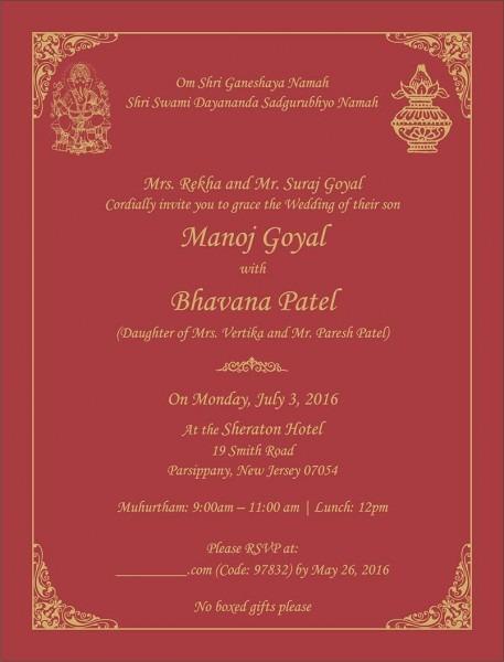 Wedding Invitation Wording For Hindu Wedding Ceremony
