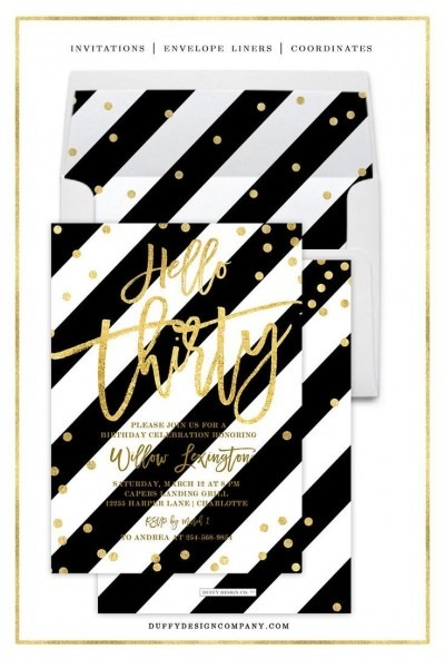 Black And Gold Birthday Invitations For Women, Printed Or Diy
