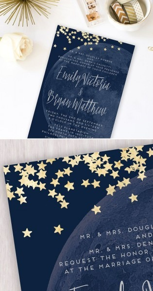 Moon And Stars Printable Wedding Invitation  Custom Navy And Gold