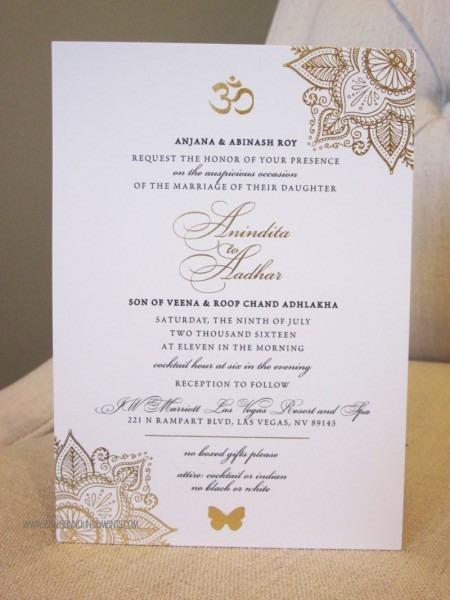 Indian Wedding, Gold Foil, Invitation, Sophisticated, Om Symbol