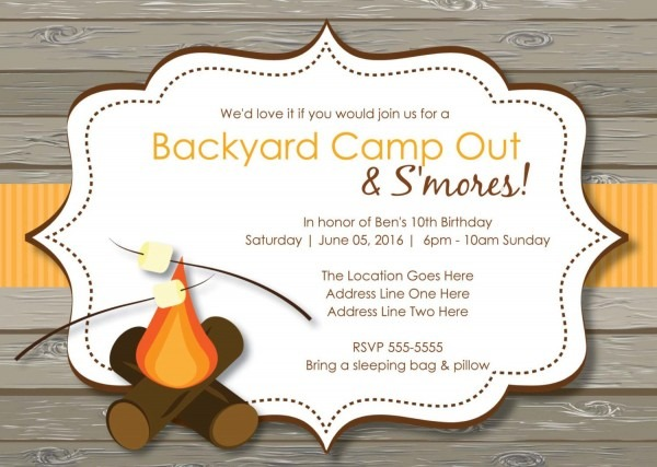 Rustic S'mores Camp Out Invitations