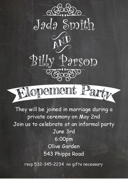 Pin By Www Partyinvitations Com On Eloping Party Invitations