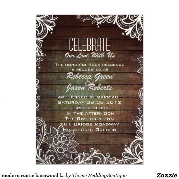 Modern Rustic Barnwood Lace Country Wedding Invitation