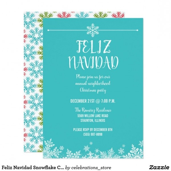 Feliz Navidad Snowflake Christmas Party Invitation