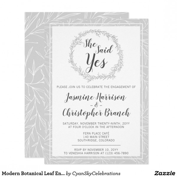 Modern Botanical Leaf Engagement Party Invitation