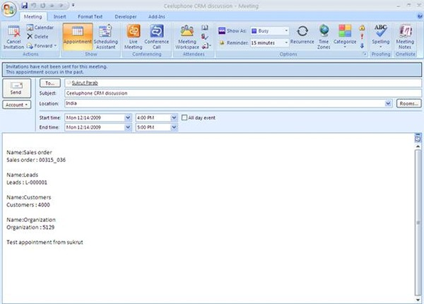 Outlook Appointment Template