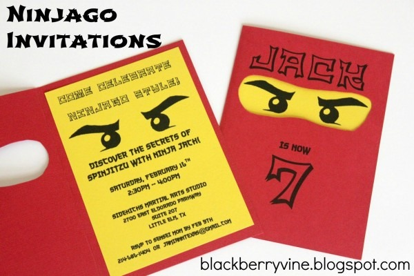 The Blackberry Vine  Lego Ninjago Party Invitation