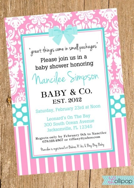 Tiffany Baby Shower Printable Invitation, Personalized Tiffany