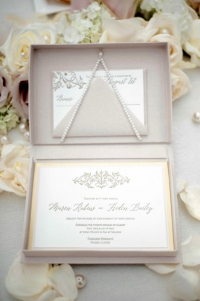 Luxury Letterpress Boxed Invitations In Blush And Gold  Custom