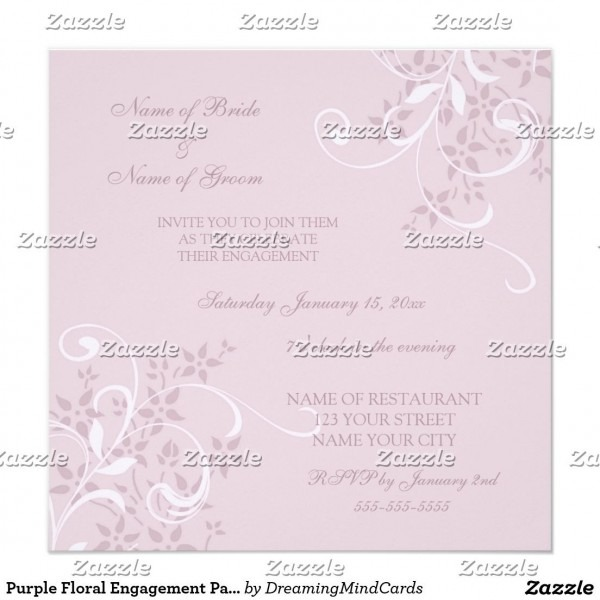 Purple Floral Engagement Party Invitations