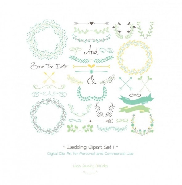 35 Wedding Digital Clipart Set I