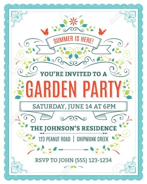 Vector Garden Party Invitation With Ornaments And Ribbons  Royalty