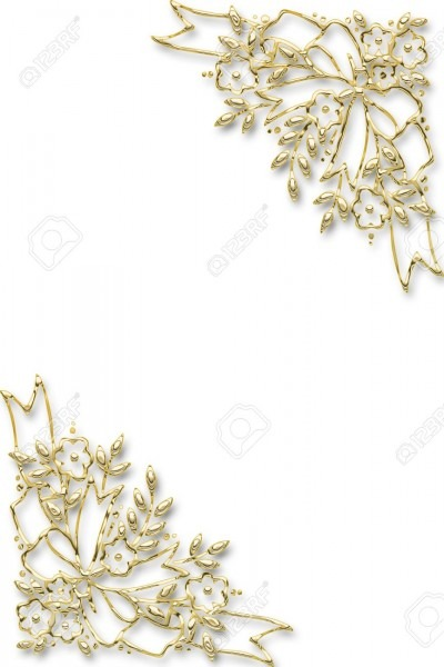 Golden Floral Frame For A Wedding Invitation Stock Photo, Picture