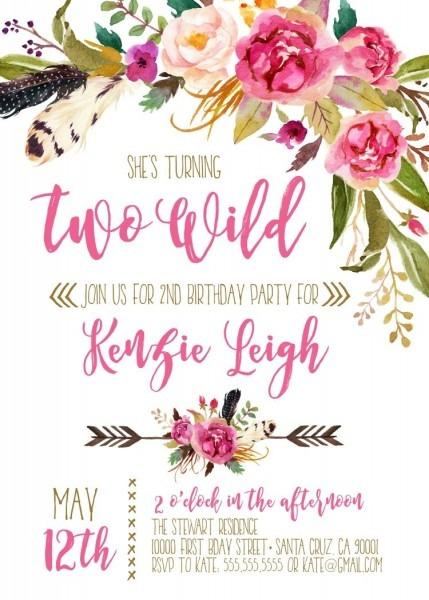 Boho Invitations, Second Birthday, Two Wild Birthday Party, 2nd