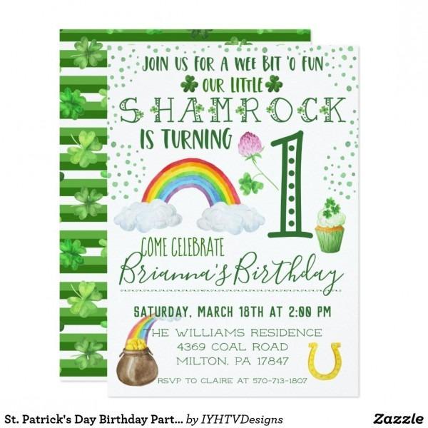 St  Patrick's Day Birthday Party Invitation