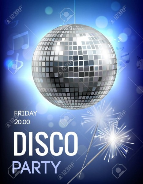Party Invitation Poster With Disco Ball In Spot Lights Vector