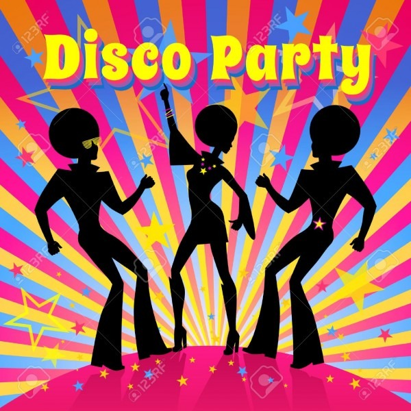 Disco Party Invitation Template With Silhouette Of A Dancing