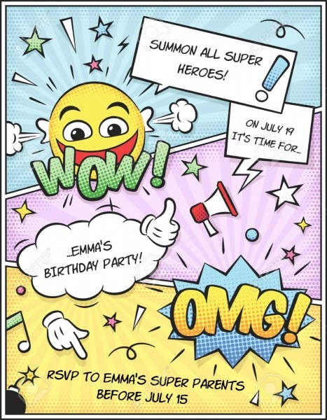 Colorful Comic Book Birthday Invitation Template  Just Add Your
