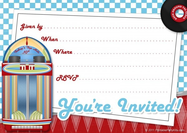 Free Printable Party Invitations  Free Printable 1950s Party