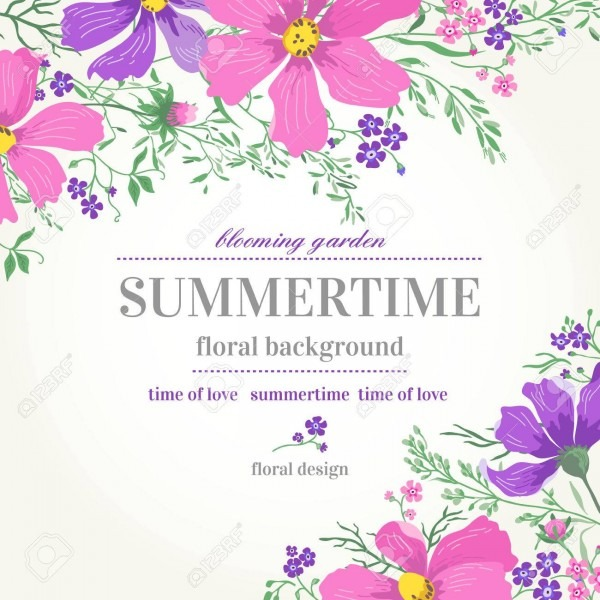 Vector Wedding Invitation With Pink And Purple Flowers On A White