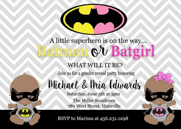 Batman, Batgirl, Baby Shower, Gender Reveal, Invitation, Party