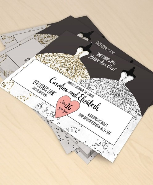 Two Brides Are Better Than One Printable Bridal Shower Invitation