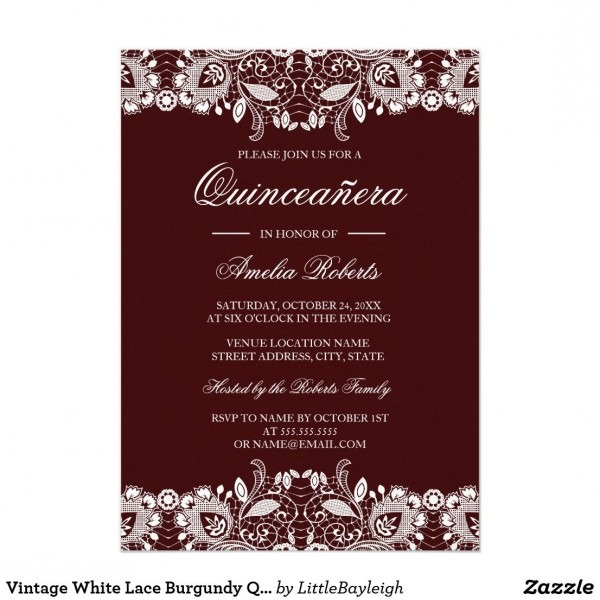Vintage White Lace Burgundy Quinceanera Invitation In 2018