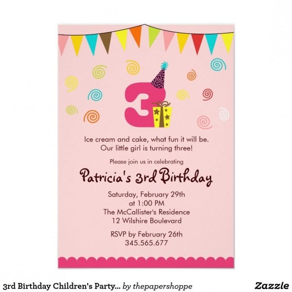 3rd Birthday Invitation Wording Cool With 3rd Birthday Invitation