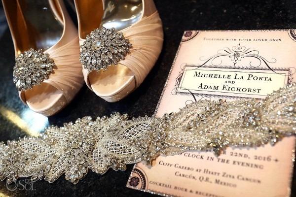Elegant Blush Wedding Invitation Photographed With Bridal Wedding