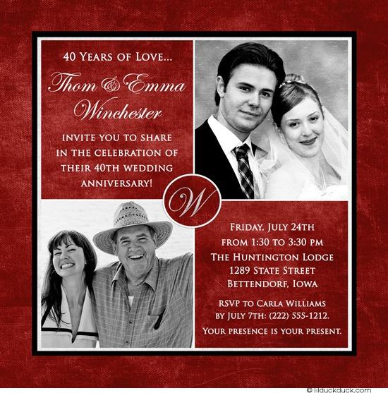 40th Wedding Anniversary Invitations 40th Wedding Anniversary