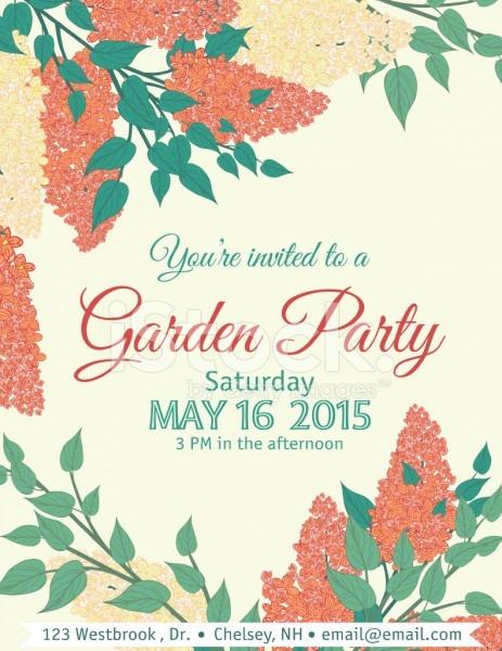 Garden Party Invitation Template Stock Vector
