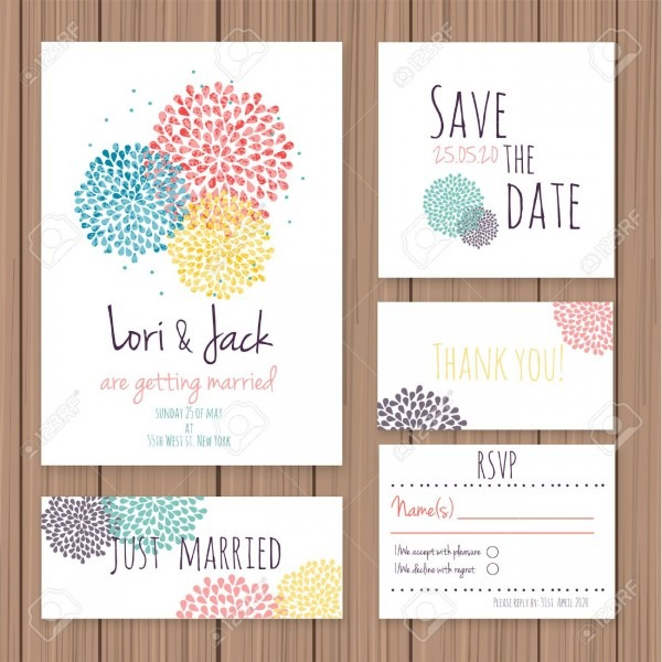 Wedding Invitation Card Set  Thank You Card, Save The Date Cards