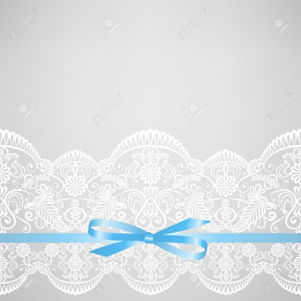 Wedding Or Baby Shower Invitation Or Greeting Card With Lace