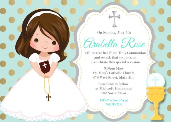 First Communion Invitation, Girl, Mint, Gold, Any Hair Color