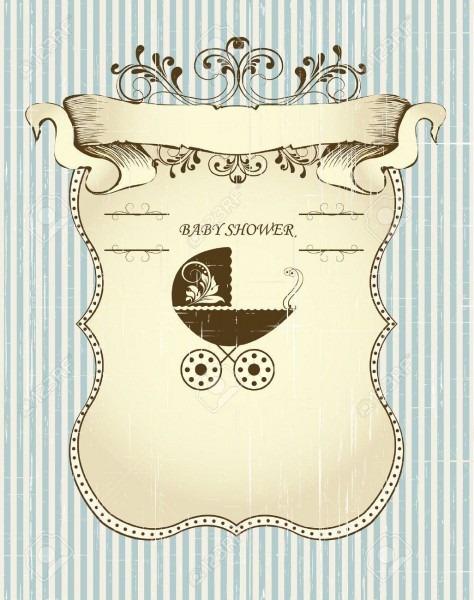 Vintage Baby Shower Invitation Card With Ornate Elegant Retro