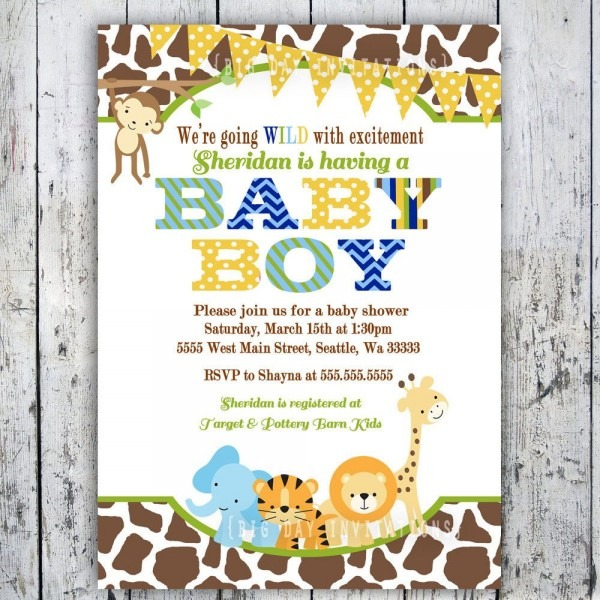 Safari Baby Shower Invitations, Jungle Animal Theme, Printable