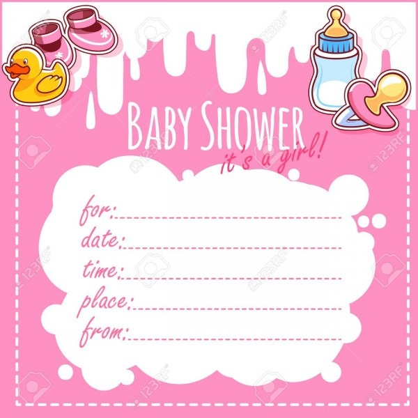 Baby Shower Card  It's A Girl! Blank Baby Shower Invitations