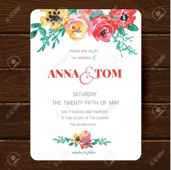 Wedding Invitation Card Template  Hand Drawn Watercolor Design