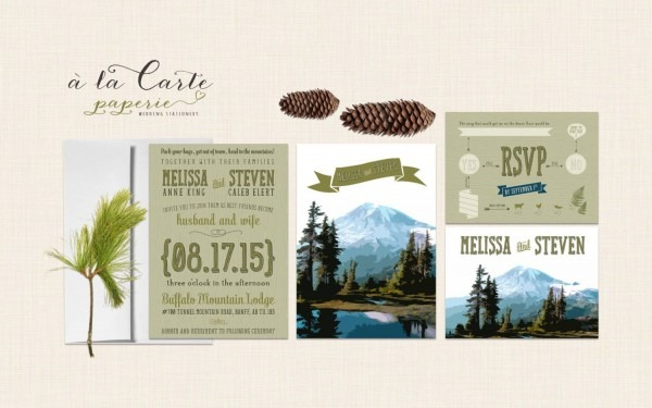 Rustic Mountain Wedding Invitation Rsvp Illustrated Wedding
