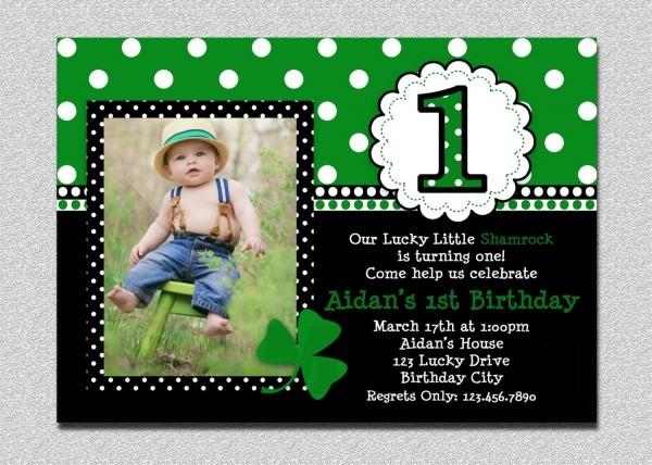 St Patricks Day Birthday Invitation 1st Birthday St Patricks Day