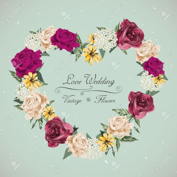 Romantic Floral Wedding Invitation Design With Heart Shaped Wreath