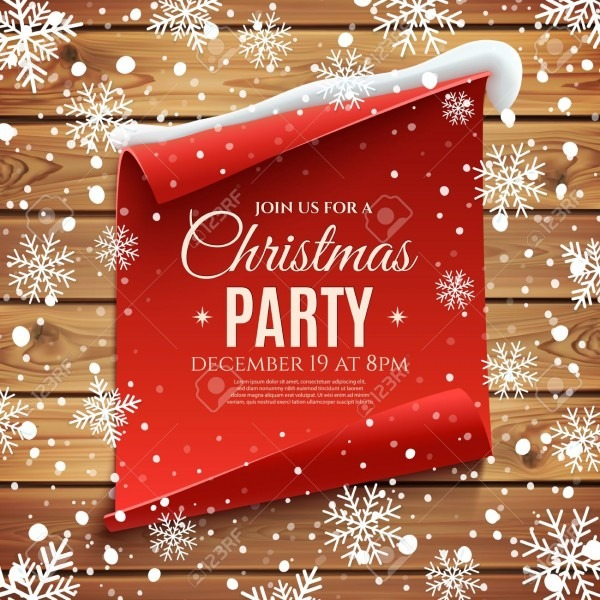 Christmas Party Invitation Poster  Red, Curved, Paper Banner