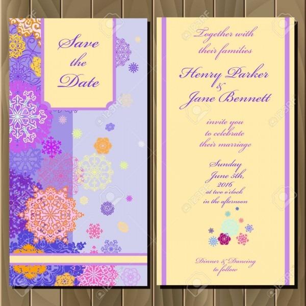 Snowflakes Wedding Invitation Card  Violet, Pink, Gold, Blue