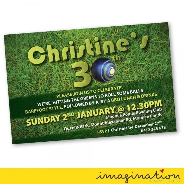 Lawn Bowls Invitation Birthday Party Invite 21st 30th 40th 50th