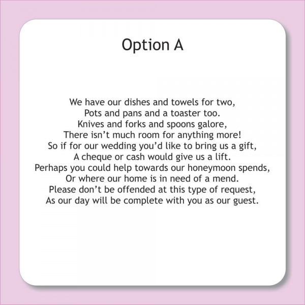 Wording For Wedding Invitations Asking For Money