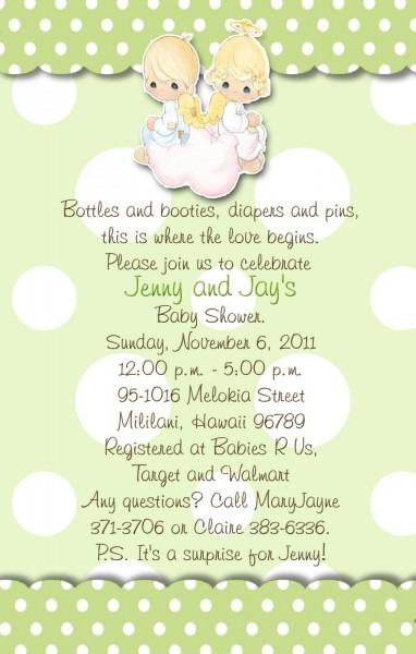 Angels Precious Moments Baby Shower Invitations Green And Polka Dots