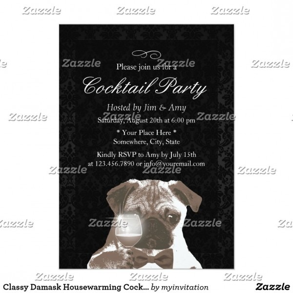 Classy Damask Housewarming Cocktail Party Invitation