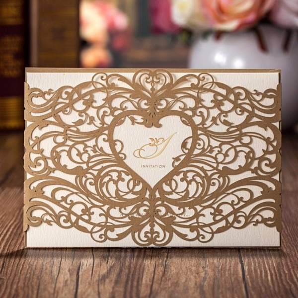 50pcs Laser Cut Heart Wedding Invitations Cards Gold Red For Party